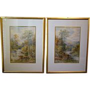 John Rock Jones signed pair of English landscape watercolor paintings late 1800's