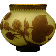 Richard French cameo glass vase with bronze rim