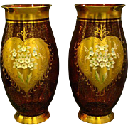 Bohemian art glass large pair cranberry thickly enameled gilt floral vases