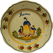 Quimper French pottery Maman 2005 plate