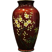 Japanese cloisonne pigeonblood pigeon blood vase birds and flowers