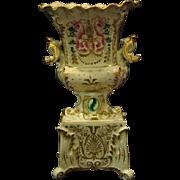 Old Paris porcelain tall bolted ornate vase urn