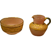 Moser pink opaline gold enamel glass pitcher and bowl or creamer sugar
