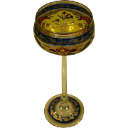 Fritz Heckert Bohemian Czech art glass tall goblet stem 1800's