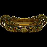 Italian majolica Rennaissance style double snake handled bowl marked
