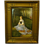 Antique German hand painted porcelain plaque woman in field