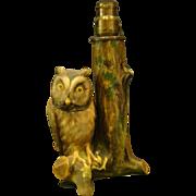 Nippon porcelain figural owl lamp RARE