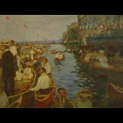 Hans Eberhard Bahre antique gouache impressionist painting of Venice scene