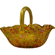Antique Bohemian rainbow gold enameled art glass basket GORGEOUS