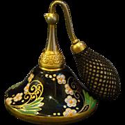 Devilbiss signed black glass gold enameled floral perfume bottle atomizer