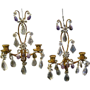 Italian pair of rock crystal wall sconces
