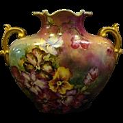 Limoges hand painted violets pillow form vase Jean Pouyat