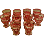 Val St Lambert Blarney ruby cut to clear set of ten footed tumblers goblets