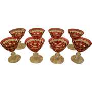 Val St Lambert ruby cut to clear Blarney set of eight liqour cocktail or sherry goblets glasses