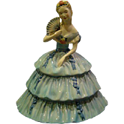 Goldscheiderer southern belle large figurine woman in blue dress