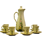 Limoges hand painted roses chocolate set pot cups saucers Jean Pouyat