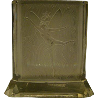 Czech frosted dancing fairy art glass vase