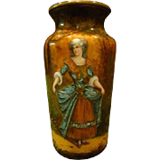 Antique French enamel vase woman in pastoral setting artist signed