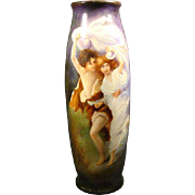 "Limoges T&V huge hand painted vase of couple seeking shelter titled ""The Storm"""