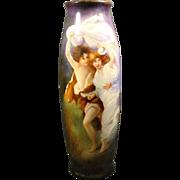 "Limoges T&V huge hand painted vase of couple seeking shelter titled ""The Storm"""