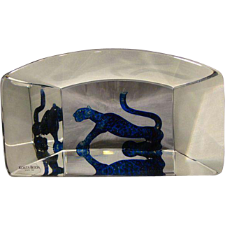 Kosta Boda Bertil Vallien glass sculpture paperweight panther signed