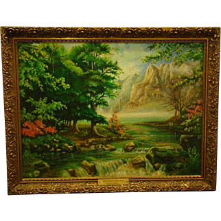 Bertha Penrose original signed oil painting Moose River and Cook Mountains