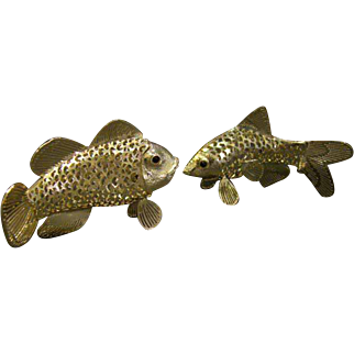 Christofle signed pair of silverplated silverplate openwork fish