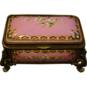 Antique French enamel fire kiln bronze jewelry box casket Tahan