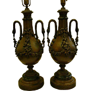 French spelter and marble pair swan handle table lamps