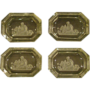 Czech intaglio cut set of four salt dips dishes classic figures