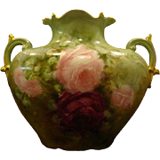 Limoges hand painted roses pillow form handled vase Jean Pouyat