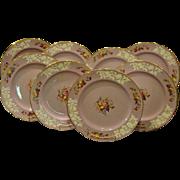 Copeland Spode set of twelve lilac flower and fruit embossed dinner plates