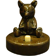 Antique German bronze seated bear servant call bell push