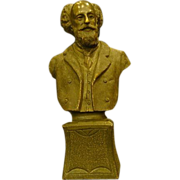 Unusual bronze bust of scholarly gentleman solid casting