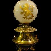 Antique rampant lion globe oil lamp marked Brevete