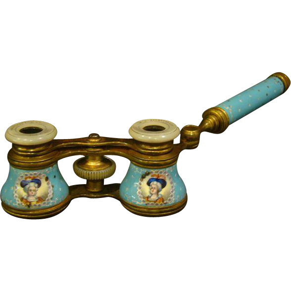 Antique French Enamel Opera Glasses Portrait Of Women And
