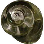 Steuben crystal signed shell paperweight or hand cooler