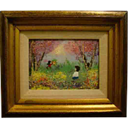 French enamel on copper plaque boy and girl in field of flowers signed