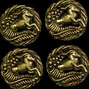 Four art deco gazelle set of four matching buttons