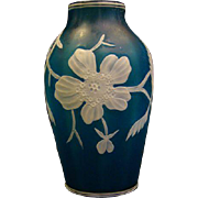 Webb English cameo glass blue white floral vase signed unusual ribbing