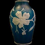 Webb English cameo glass blue white floral vase signed unusual ribbing