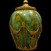 French art pottery vase jar ormolu dancing women mount frame