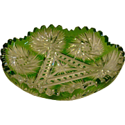 American cut glass green cut to clear bowl