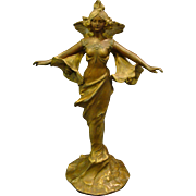 Art nouveau sculptural woman with lillies table lamp artist signed