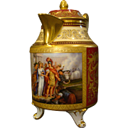 Vienna beehive hand painted portrait covered pitcher titled Perseus Vermahlung