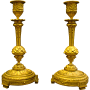Antique French dore bronze pair ornate candlesticks