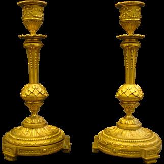 Antique French dore bronze pair ornate candlesticks