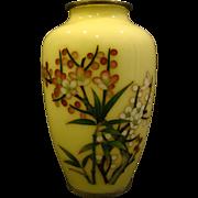 Japanese cloisonne pale yellow floral cloisonne vase