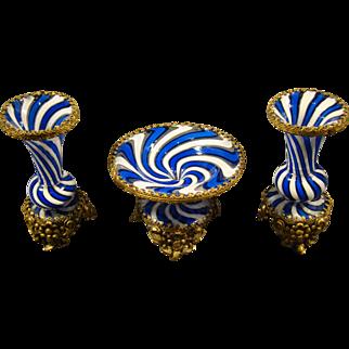 Antique Venetian glass miniature mantle set compote vases