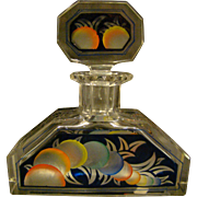 Art deco faceted glass hand painted perfume bottle